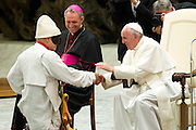 Vatican City jun 16th 2016, pope attends to a meeting with the participants in the Jubilee of the World of Travelling Shows at Paul VI audience hall . In the picture Pope Francis during the show  of <br /> a street performer who plays Pulcinella , a mask of the Neapolitan tradition - &copy; PIERPAOLO SCAVUZZO