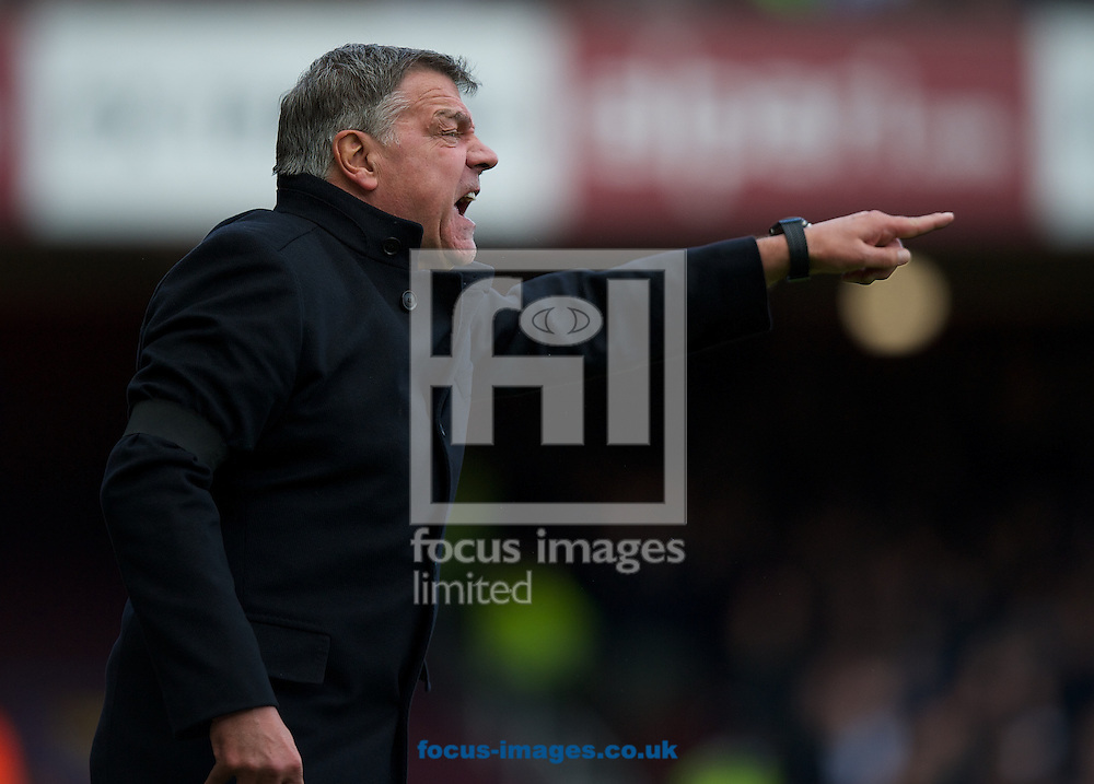 Manager Sam Allardyce of West Ham United gets angry with a player during the Barclays Premier League match at the Boleyn Ground, London<br /> Picture by Alan Stanford/Focus Images Ltd +44 7915 056117<br /> 19/04/2014