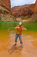 River guide Steve Law hula hooping, Colorado River, Marble Canyon, Grand Canyon National Park, Arizona USA