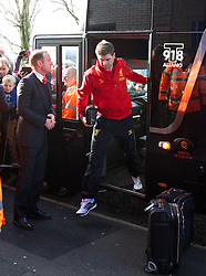 WEST BROMWICH, ENGLAND - Sunday, February 2, 2014: Liverpool's captain Steven Gerrard steps off the team coach as the squad arrive at The Hawthorns ahead of the Premiership match against West Bromwich Albion at the Hawthorns. (Pic by David Rawcliffe/Propaganda)