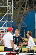 "Rio de Janeiro. BRAZIL.  GBR LW2X. chat before the start of the days prgramme, left to roight, Paul REEDY, Kat COPELAND and Charlotte TAYLOR.  2016 Olympic Rowing Regatta. Lagoa Stadium,<br /> Copacabana,  ""Olympic Summer Games""<br /> Rodrigo de Freitas Lagoon, Lagoa.   Monday  08/08/2016 <br /> <br /> [Mandatory Credit; Peter SPURRIER/Intersport Images]"