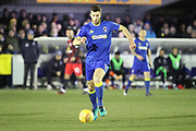 AFC Wimbledon defender Jon Meades (3) dribbling during the EFL Sky Bet League 1 match between AFC Wimbledon and Blackburn Rovers at the Cherry Red Records Stadium, Kingston, England on 27 February 2018. Picture by Matthew Redman.