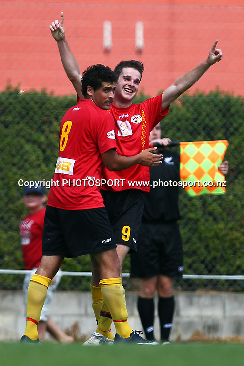 Waikato's Mark Jones celebrates his goal with teammate Jason McKeown. NZFC, ASB Premiership football match, Waikato FC v Youngheart Manawatu at Fred Jones Park, Hamilton, New Zealand. Saturday 27 November 2010. Photo: Anthony Au-Yeung / photosport.co.nz