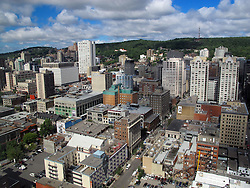Aerial view of Centre Ville area of downtown, Montreal, Quebec, Canada