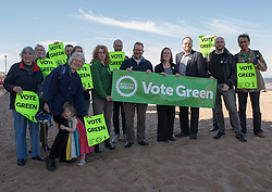 Green MSP Andy Wightman and other Green Party activists joined local Green candidate Mary Campbell for some last minute campaigning on Portobello Prom Pictured: Green candidates Chas Booth (Leith), Mary Campbell (Portobello) with Andy Wightman MSP surrounded by Green Prty campigners and supporters<br /> <br /> © Jon Davey/ EEm