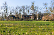 Nederland, Well, 20160314.<br /> Emerson College European Centre op het kasteel in Well, Limburg.<br /> Kasteel Well is een fraaie waterburcht. Het huidige kasteel werd pas gebouwd in de vijftiende eeuw, maar kreeg pas later, in de zeventiende eeuw, zijn huidige aanzicht. Achter het huidige kasteel liggen de resten van een torenmolen uit de vijftiende eeuw. 