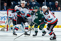 KELOWNA, BC - FEBRUARY 28:  Elias Carmichael #14 and Ethan Ernst #19 of the Kelowna Rockets checks Gage Goncalves #39 of the Everett Silvertips during second period at Prospera Place on February 28, 2020 in Kelowna, Canada. (Photo by Marissa Baecker/Shoot the Breeze)