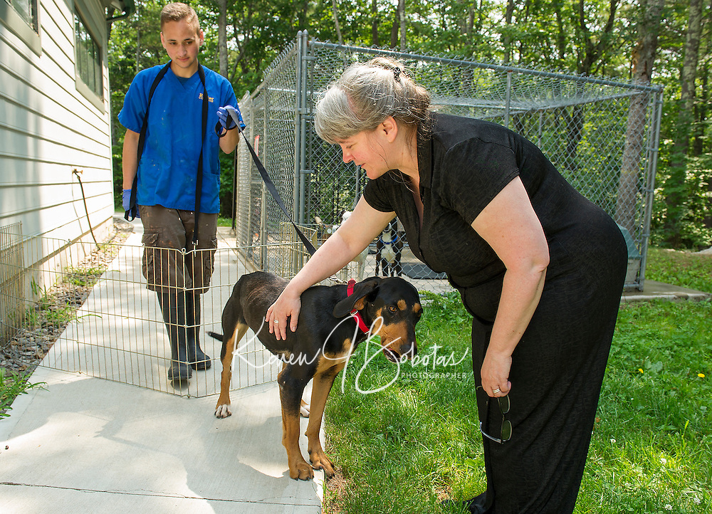 "Adam Tatarsky holding ""Pipi"" a black and tan Coon Hound greets MaryLee Gorham-Waterman at the NH Humane Society on Monday morning.  (Karen Bobotas/for the Laconia Daily Sun)"