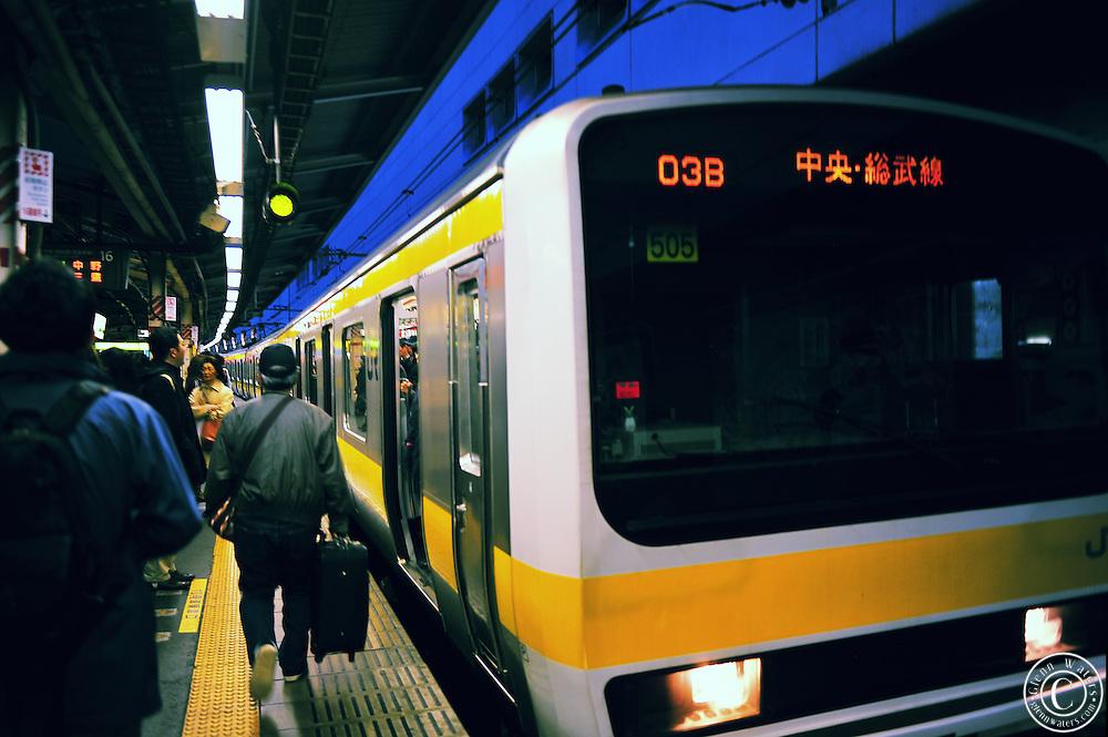 A train at Nakano in Tokyo not far from Shinjuku station.