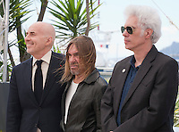 Fernando Sulichin, Iggy Pop, Director Jim Jarmusch at the Gimme Danger film photo call at the 69th Cannes Film Festival Thursday 19th May 2016, Cannes, France. Photography: Doreen Kennedy