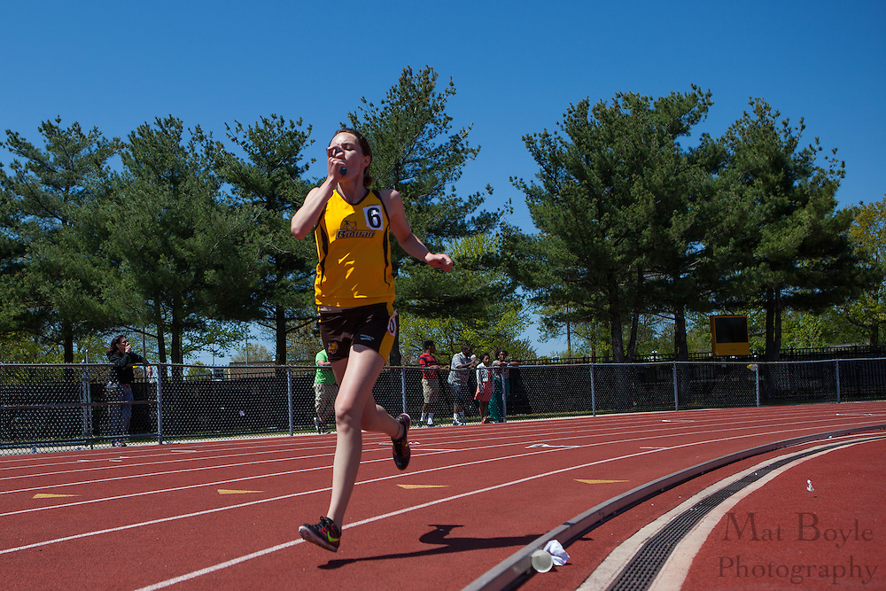 Rowan University's Christin Bettis competes in the women's 5000 meter at the NJAC Track and Field Championships at Richard Wacker Stadium on the campus of  Rowan University  in Glassboro, NJ on Sunday May 5, 2013. (photo / Mat Boyle)