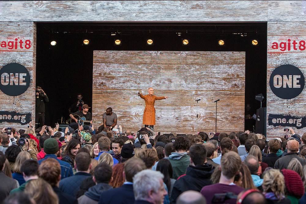 Jessie J performs at the ONE Agit8 campaign, outside Tate Modern, London.