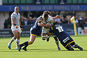 Bath Semesa Rokoduguni  Wing (14) tackled by two Worcester players second half during the Aviva Premiership match between Worcester Warriors and Bath Rugby at Sixways Stadium, Worcester, United Kingdom on 15 April 2017. Photo by Gary Learmonth.