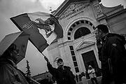 Flags with fascist emblemas during the march. About 2000 fascists gathered in Predappio, Italy to commemorate the annivrsary of the 'Marcia su Roma' A march held on October 28th 1922 and marked the start of the Italian fascist era .Federico Scoppa