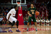 DALLAS, TX - JANUARY 15: Josh Heath #10 of the South Florida Bulls brings the ball up court against the SMU Mustangs on January 15, 2014 at Moody Coliseum in Dallas, Texas.  (Photo by Cooper Neill/Getty Images) *** Local Caption *** Josh Heath
