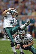 Philadelphia place kicker David Akers (2) kicks a 31-yard field, cutting the St. Louis Rams lead to six points 16-10 in the third quarter, during the Eagles 17-16 win at the Edward Jones Dome in St. Louis, Missouri, December 18, 2005.