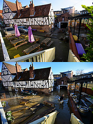© Licensed to London News Pictures. 27/12/2016. York, UK. Side by side comparison pictures showing the Red Lion pub in the centre of York as it is today, December 27, 2016 (TOP), and exactly a year ago today, on December 27, 2015 (BOTTOM) during the middle of severe flooding. Homes and businesses were destroyed in the flooding over the Christmas period last year. Photo credit: Ben Cawthra/LNP