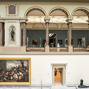 The main hall at the Royal Museums of Fine Arts in Belgium (in French, Musées royaux des Beaux-Arts de Belgique), one of the most famous museums in Belgium. The complex consists of several museums, including Ancient Art Museum (XV - XVII century), the Modern Art Museum (XIX ­ XX century), the Wiertz Museum, the Meunier Museum and the Museé Magritte Museum.