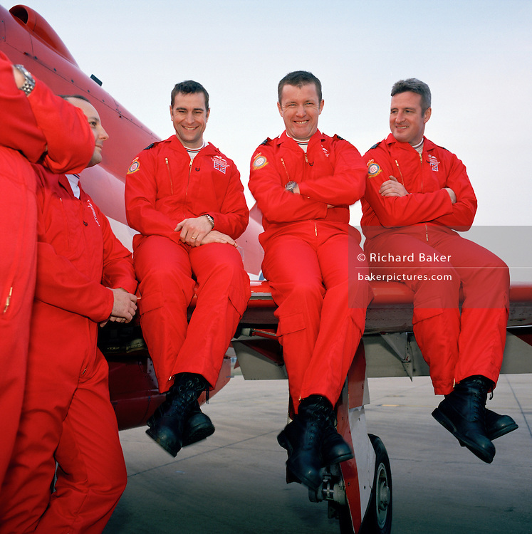 Light-hearted moment by pilots' of the 'Red Arrows', Britain's Royal Air Force aerobatic team.