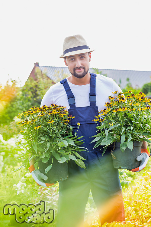 Portrait of mature gardener carrying flowers in shop
