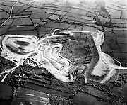 an aerial view of Silvermines, Co Tipperary where mining has been going on intermittently over the centuries. Opencast mining of barytes began in 1963 and lead and zinc were also discovered. This was worked underground from 1968 to 1982 by Mogul of Ireland Ltd. The mine closed in 1992.<br />