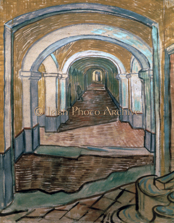 Vestibule of the Asylum' 1889. Watercolour and gouache on paper. Vincent van Gogh (1853-1890) Dutch Post-Impressionist painter.