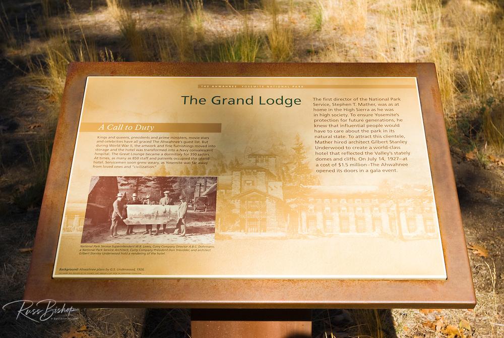 Interpretive sign describing the history of the Ahwahnee Hotel, Yosemite National Park, California