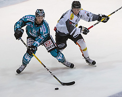 23.09.2016, Keine Sorgen Eisarena, Linz, AUT, EBEL, EHC Liwest Black Wings Linz vs Dornbirner Eishockey Club, 3. Runde, im Bild Rick Schofield (EHC Liwest Black Wings Linz) und Stefan Häußle (Dornbirner Eishockey Club) // during the Erste Bank Icehockey League 3rd round match between EHC Liwest Black Wings Linz and Dornbirner Eishockey Club at the Keine Sorgen Icearena, Linz, Austria on 2016/09/23. EXPA Pictures © 2016, PhotoCredit: EXPA/ Reinhard Eisenbauer