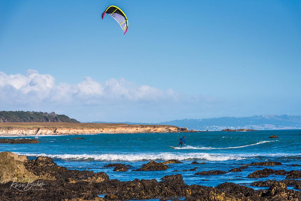 Kite surfing at San Simeon, California USA