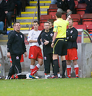 Stirling boss Roddy Grant is sent to the stand by ref Craig Thomson - Stirling Albion v Dundee, IRN BRU Scottish League 1st Division, Forthbank Stadium, Stirling<br /> <br />  - &copy; David Young<br /> ---<br /> email: david@davidyoungphoto.co.uk<br /> http://www.davidyoungphoto.co.uk