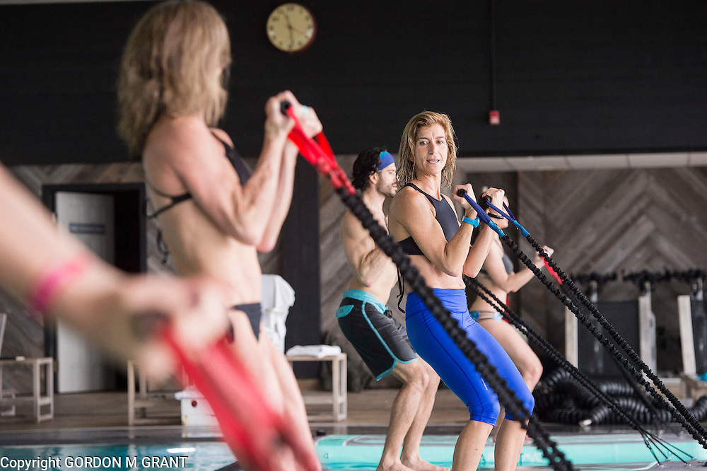 Gina Bradley, owner of Paddle Diva, teaches a Pool Mat Fitness class in the pool area at Gurney's Montauk Resort & Seawater Spa in Montauk, Feb. 7, 2017.