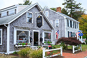 Traditional wooden timber oak shingle architecture of Real Estate office in High Street of Barnstable, Cape Cod, New England, USA