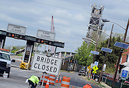 Workers prepare to remove and replace the operator house at the top of the Burlington Bristol Bridge Saturday April 30, 2016 in Burlington, New Jersey.  (Photo by William Thomas Cain)