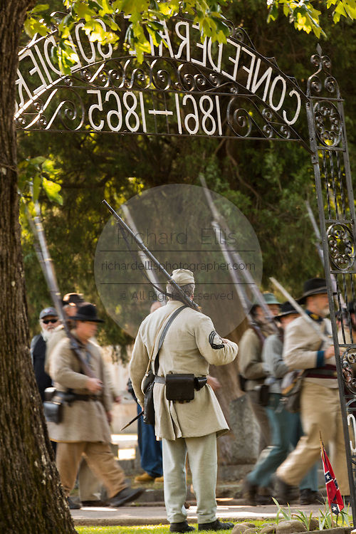 Civil war re-enactors during a memorial service at Elmwood Cemetery to mark Confederate Memorial Day May 2, 2015 in Columbia, SC. Confederate Memorial Day is a official state holiday in South Carolina and honors those that served during the Civil War.