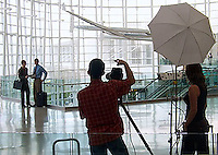 Tim and stylist, Laura Cook directing model for a Business travel shoot at the Seattle Tacoma International Airport - Production Stills.
