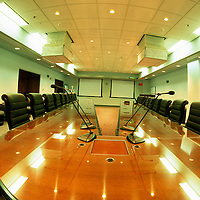 Empty conference room and executive conference table (wide-angle)