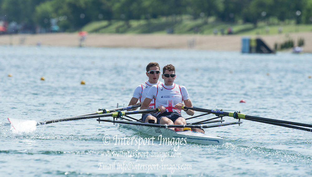 Belgrade, SERBIA, GBR LM2X, William FLECTHER and Jamie KIRKWOOD at the  2014 FISA European Rowing Championships. Lake Sava. <br /> <br /> <br /> 10:15:10  Friday  30/05/2014<br /> <br /> [Mandatory Credit; Peter Spurrier/Intersport-images]