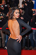Shy'm sur le tapie rouge des NRJ music awards a Cannes.Shy'm attends the red carpert for the NRJ Musc Awards.
