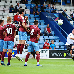 TELFORD COPYRIGHT MIKE SHERIDAN Steph Morley of Telford curls in a free kick during the National League North fixture between AFC Telford United and Gateshead FC at the New Bucks Head Stadium on Saturday, August 10, 2019<br /> <br /> Picture credit: Mike Sheridan<br /> <br /> MS201920-005