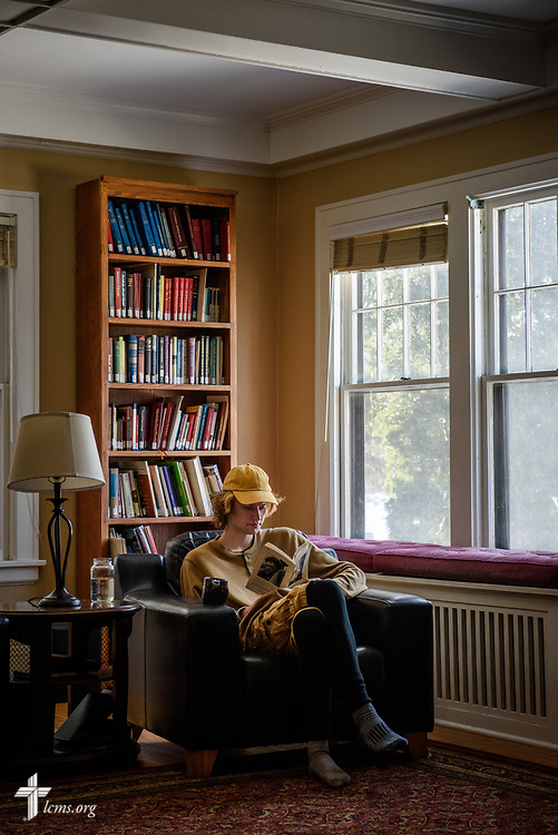 Sam Walker, a student living at Luther House of University Lutheran Chapel, studies at the house on Wednesday, Feb. 21, 2018, next to the University of Minnesota, Twin Cities, in Minneapolis. LCMS Communications/Erik M. Lunsford
