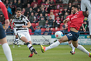 Omar Bugiel (Forest Green Rovers) shoots and scores the first goal of the game. 1-0 to the visitors during the Vanarama National League match between York City and Forest Green Rovers at Bootham Crescent, York, England on 29 April 2017. Photo by Mark PDoherty.