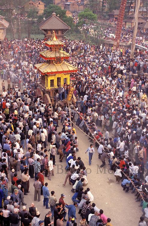 Nepal -Vallée de Kathmandu -  Bhaktapur - Fête de Bisket Jatra