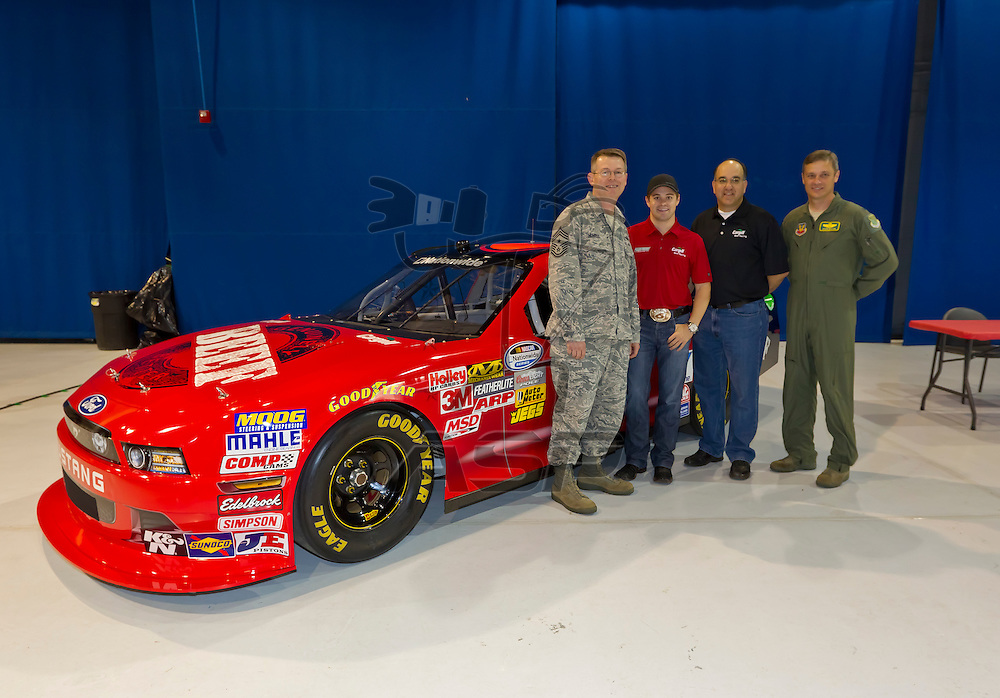 HAMPTON, VA - APR 26, 2012: NASCAR Nationwide Champion, Ricky Stenhouse, Jr. (6) takes time out to visit with airmen from the First Fighter Wing at Langley Air Force Base in Hampton, VA.