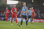 Siem De Jong and Russell Penn during the Pre-Season Friendly match between York City and Newcastle United at Bootham Crescent, York, England on 29 July 2015. Photo by Simon Davies.