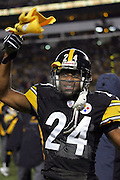 PITTSBURGH - JANUARY 23:  Ike Taylor #24 of the Pittsburgh Steelers waves a terrible towel prior to the AFC Championship Game against the New England Patriots at Heinz Field on January 23, 2005 in Pittsburgh, Pennsylvania. The Pats defeated the Steelers 41-27. ©Paul Anthony Spinelli  *** Local Caption *** Ike Taylor