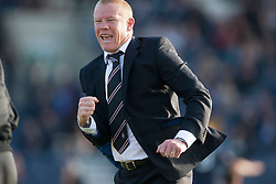 Falkirk's manager Gary Holt cele Kris Faulds scoring their goal. Raith Rovers 1 v 1 Falkirk, Scottish Championship 28/9/2013.<br /> &copy;Michael Schofield.