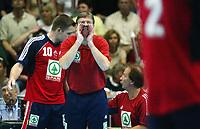 Håndball, 02.juni 2002. Landskamp Norge - Jugoslava (Yugoslavia). Trener for Norge, Gunnar Pettersen.