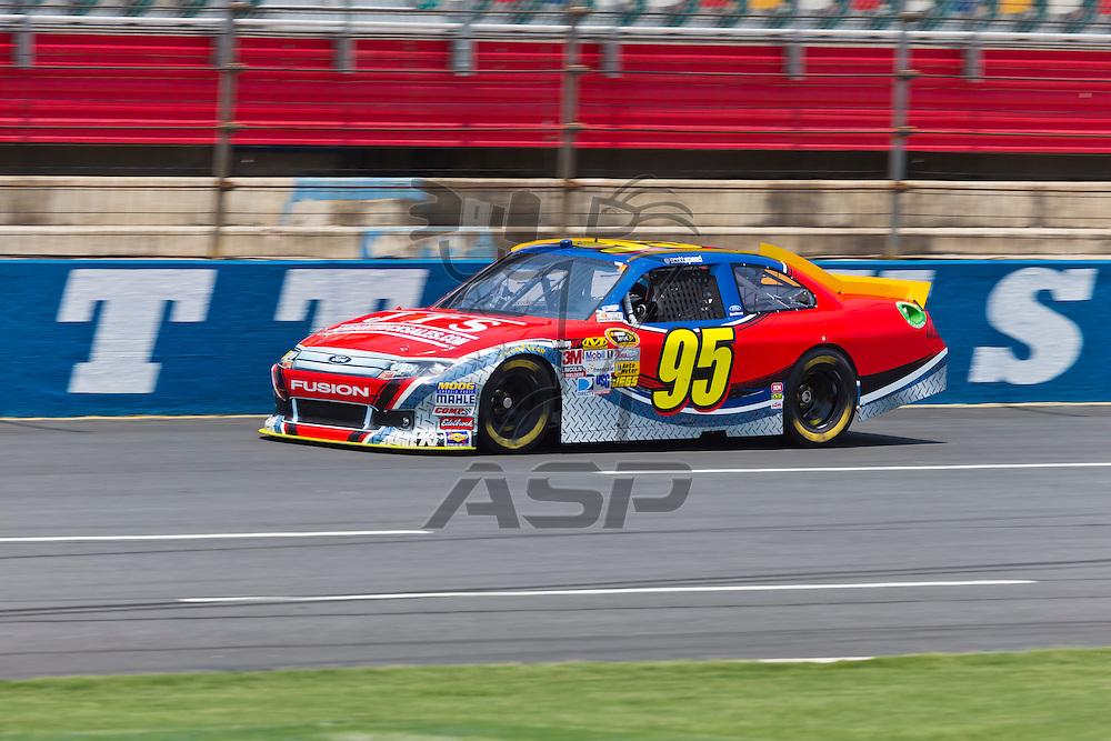 CONCORD, NC - MAY 26, 2012:  Scott Speed (95) brings his Jordan Truck Sales Ford on the track for a practice session for the Coca-Cola 600 at the Charlotte Motor Speedway in Concord, NC.
