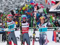 08.12.2013, Birds of Prey, Beaver Creek, USA, FIS Ski Weltcup, Beaver Creek, Riesentorlauf, Herren, 2. Durchgang, im Bild v.l.n.r. Bode Miller (USA/2. Platz), Ted Ligety (USA/1. Platz), Marcel Hirscher (AUT/3. Platz) // f.l.t.r. 2nd place Bode Miller of the USA, 1st place Ted Ligety of the USA and 3rd place Marcel Hirscher of Austria celebrate her viktory after 2nd run of mens Giant Slalom of the Beaver Creek FIS Ski Alpine World Cup at the Birds of Prey Raptor in Beaver Creek, United States on 2012/12/08. EXPA Pictures © 2013, PhotoCredit: EXPA/ Johann Groder