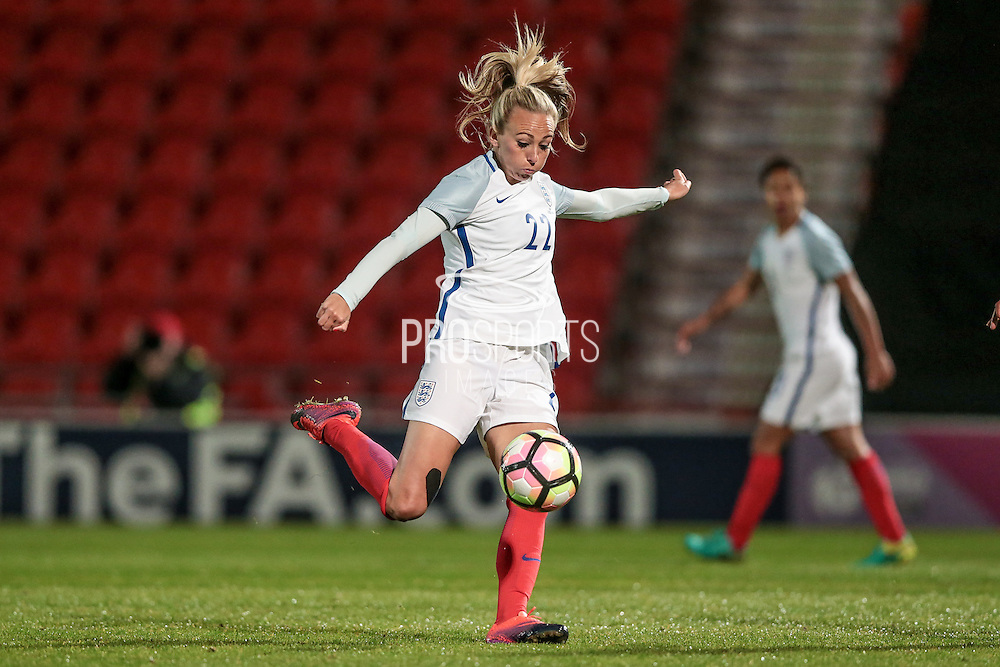 Toni Duggan (England) takes a shot and thinks she has scored, only for it to be disallowed due to an earlier offside during the International Friendly match between England Women and France Women at the Keepmoat Stadium, Doncaster, England on 21 October 2016. Photo by Mark P Doherty.